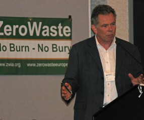 Doug Routley addressing delegates to the Zero Waste International Alliance Conference in Nanaimo on October 2, 2014.